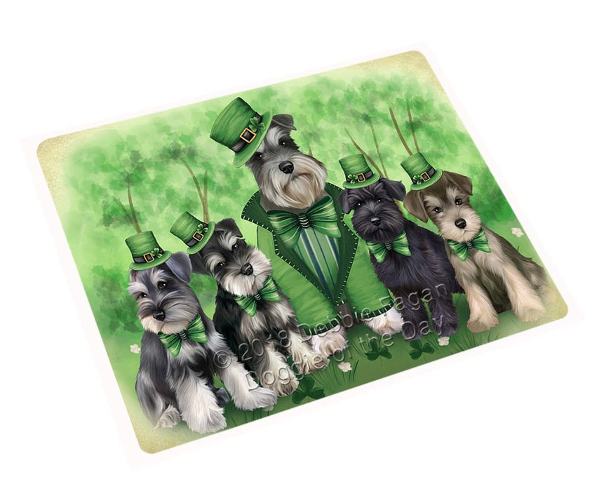 St. Patricks Day Irish Family Portrait Schnauzers Dog Tempered Cutting Board C51636
