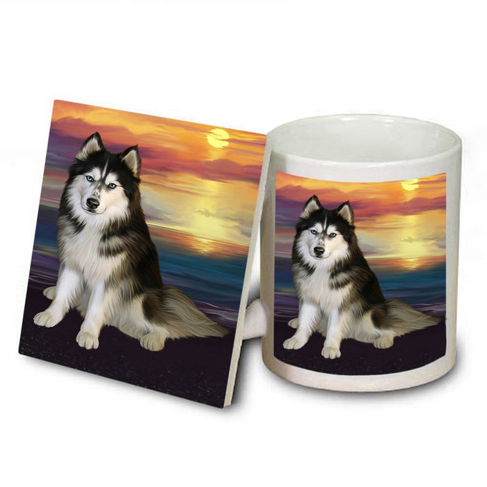 Siberian Husky Dog Mug and Coaster Set