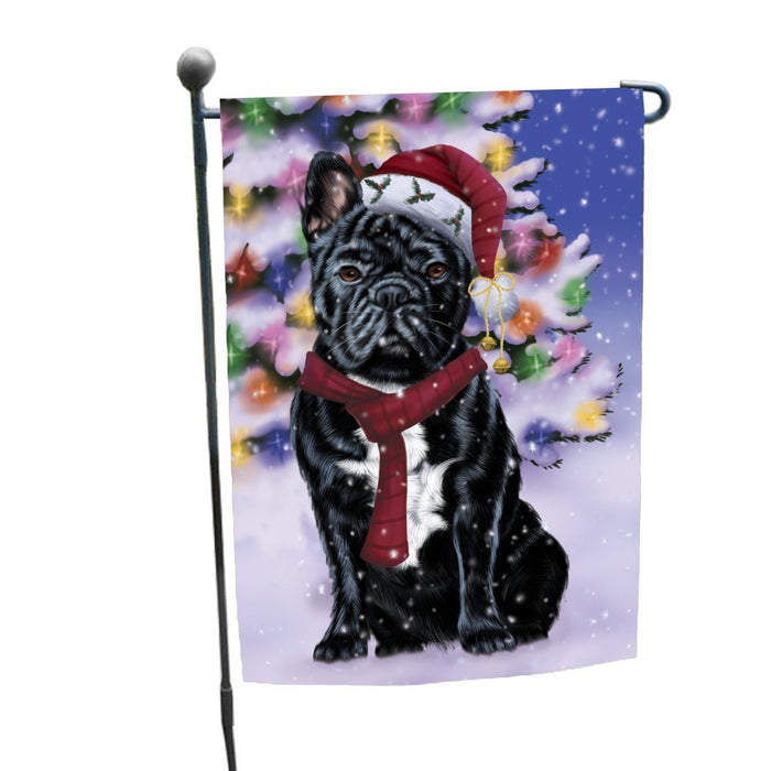 Winterland Wonderland French Bulldogs Dog In Christmas Holiday Scenic Background Garden Flag