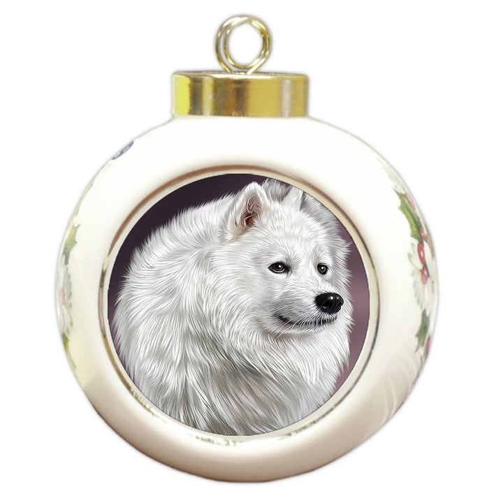 Samoyed Dog Round Ball Christmas Ornament