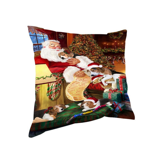 Treeing Walker Coonhound Dog and Puppies Sleeping with Santa Throw Pillow