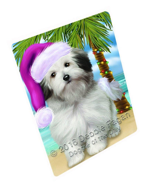 "Summertime Happy Holidays Christmas Bolognese Dogs On Tropical Island Beach Magnet Small (5.5"" x 4.25"")"