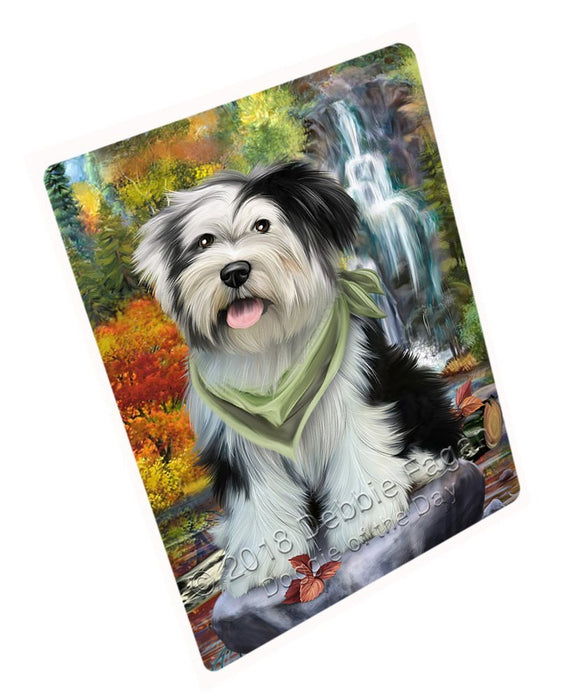 Scenic Waterfall Tibetan Terrier Dog Tempered Cutting Board C52452
