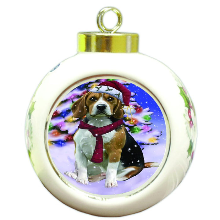 Winterland Wonderland Beagles Dog In Christmas Holiday Scenic Background Round Ball Ornament D545