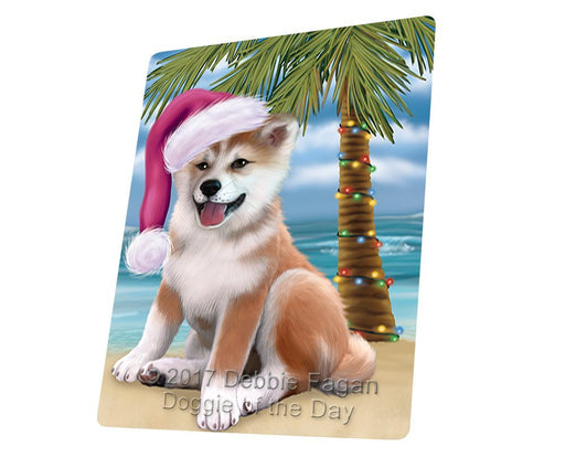 Summertime Happy Holidays Christmas Shiba Inu Dog on Tropical Island Beach Large Refrigerator / Dishwasher Magnet D208