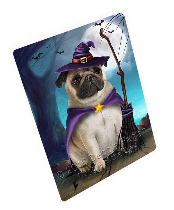 "Happy Halloween Trick Or Treat Pug Dog Witch Magnet Small (5.5"" x 4.25"")"