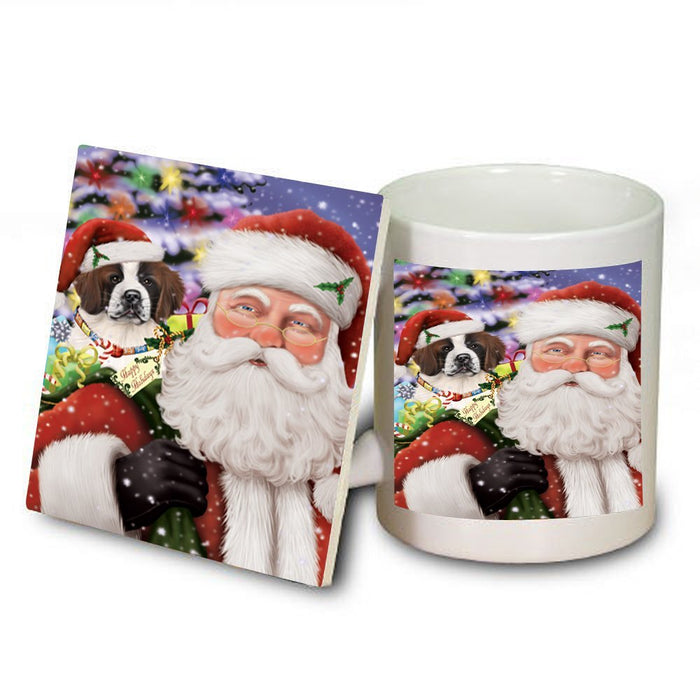 Santa Carrying Saint Bernard Dog Presents Christmas Mug and Coaster Set MUC0032