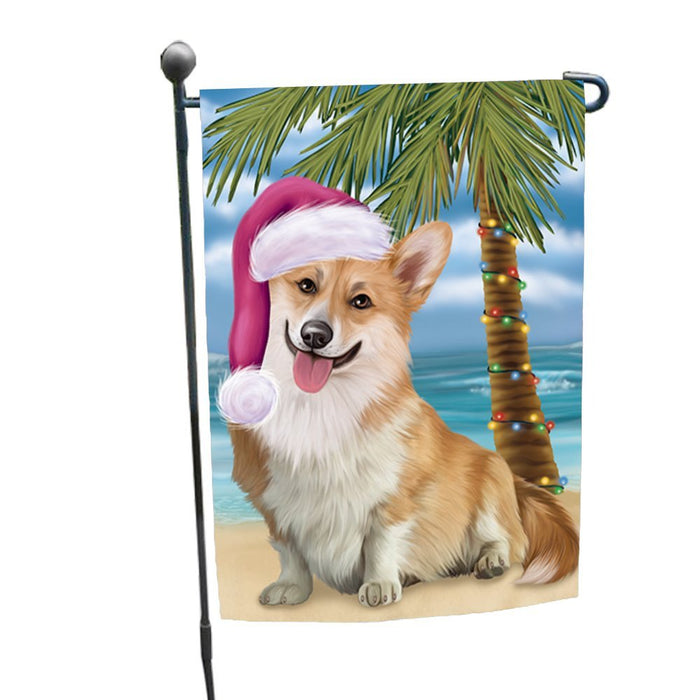 Summertime Happy Holidays Christmas Corgi Dog on Tropical Island Beach Garden Flag