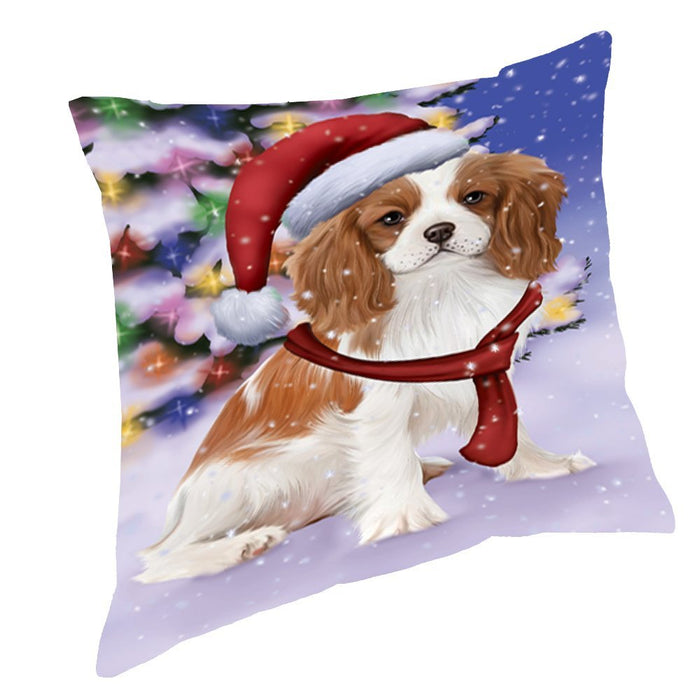Winterland Wonderland Cavalier King Charles Spaniel Puppy Dog In Christmas Holiday Scenic Background Throw Pillow