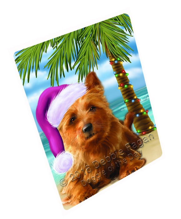 Summertime Happy Holidays Christmas Australian Terriers Dog on Tropical Island Beach Large Refrigerator / Dishwasher Magnet D315