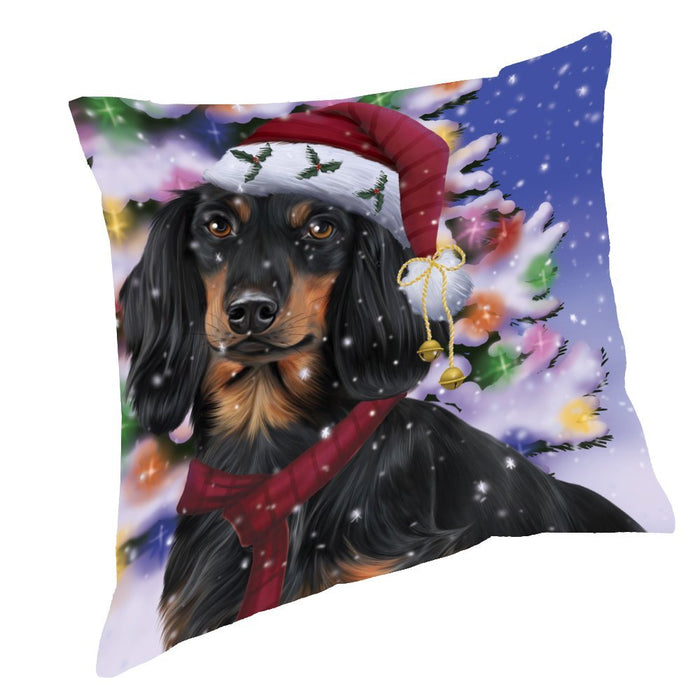 Winterland Wonderland Dachshunds Dog In Christmas Holiday Scenic Background Throw Pillow