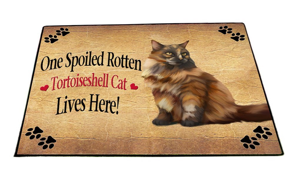 Spoiled Rotten Tortoiseshell Cat Indoor/Outdoor Floormat