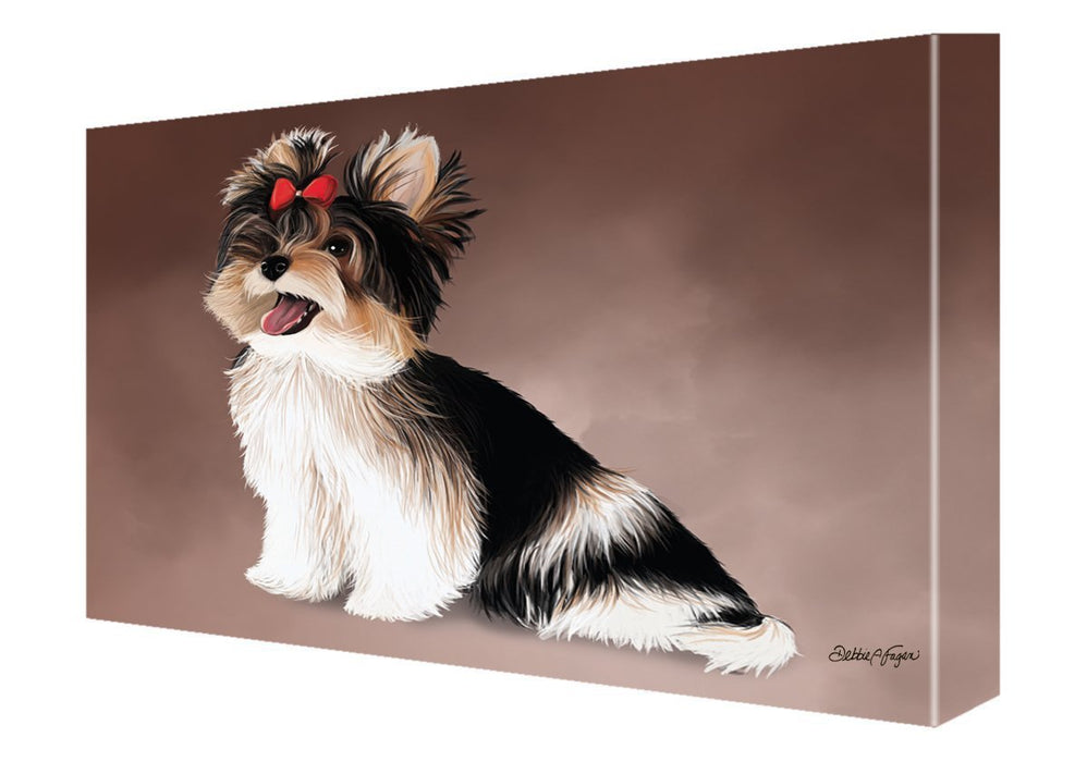 Yorkshire Terrier Dog Painting Printed on Canvas Wall Art Signed