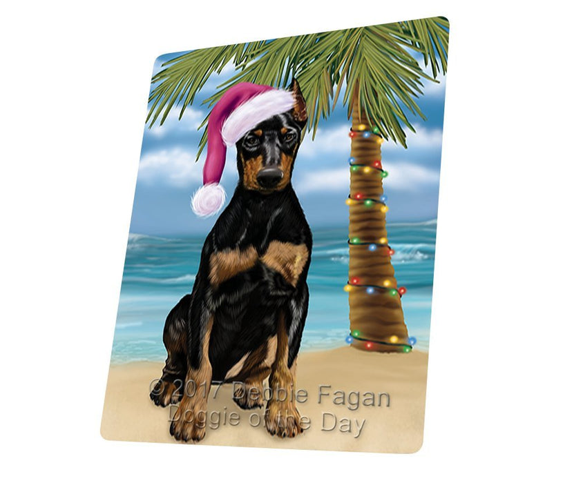 "Summertime Happy Holidays Christmas Doberman Dog On Tropical Island Beach Magnet Mini (3.5"" x 2"")"