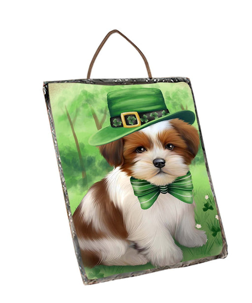 St. Patricks Day Irish Portrait Lhasa Apso Dog Wall Décor Hanging Photo Slate SLTH48830