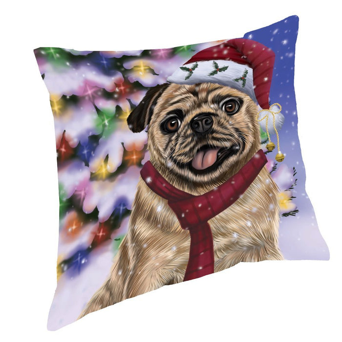 Winterland Wonderland Pug Dog In Christmas Holiday Scenic Background Throw Pillow
