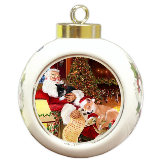 Shiba Inu Dog and Puppies Sleeping with Santa Round Ball Christmas Ornament D453