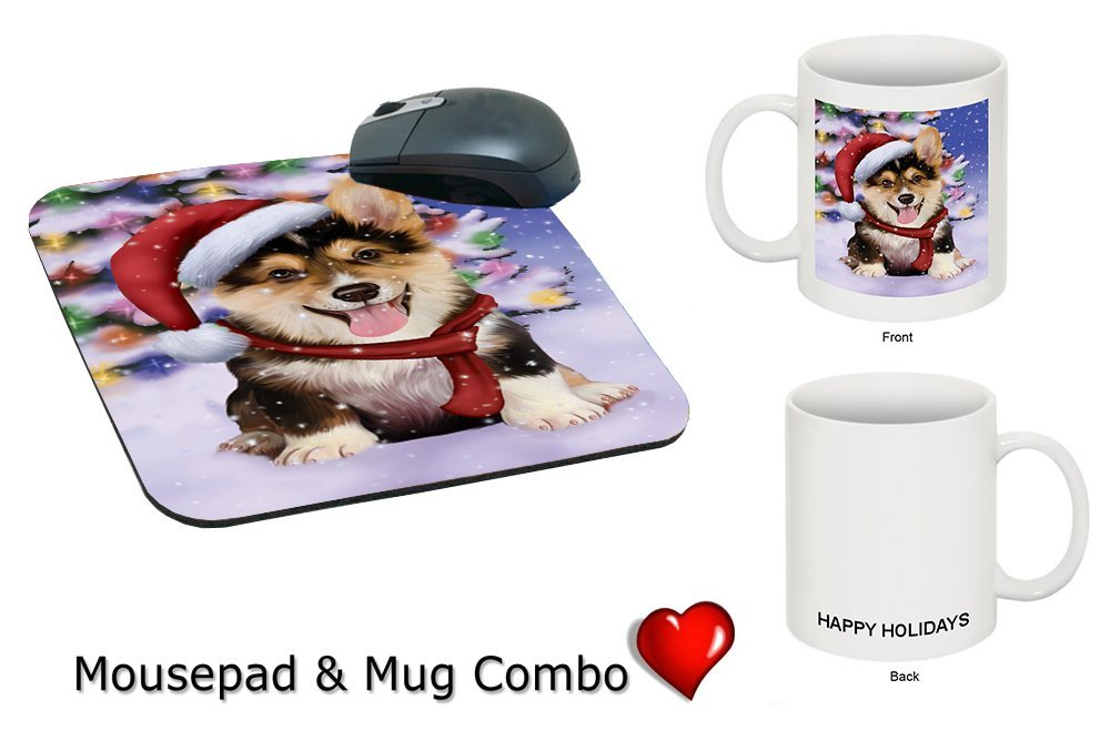 Winterland Wonderland Corgis Puppy Dog In Christmas Holiday Scenic Background Mug & Mousepad Combo Gift Set