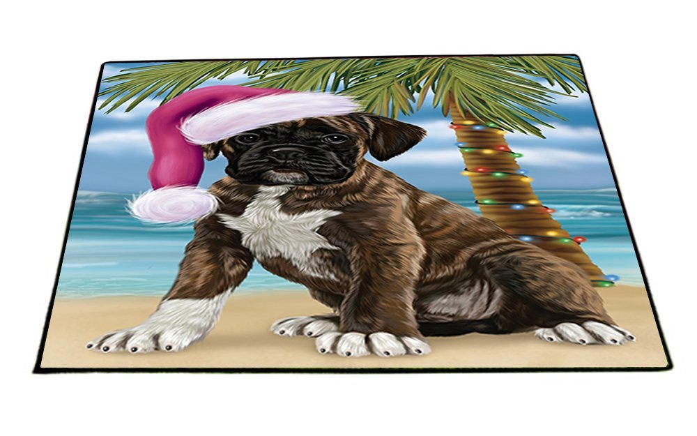 Summertime Happy Holidays Christmas Boxers Dog on Tropical Island Beach Indoor/Outdoor Floormat