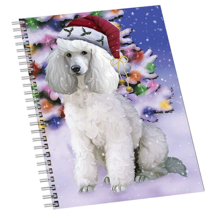 Winterland Wonderland Poodles Dog In Christmas Holiday Scenic Background Notebook