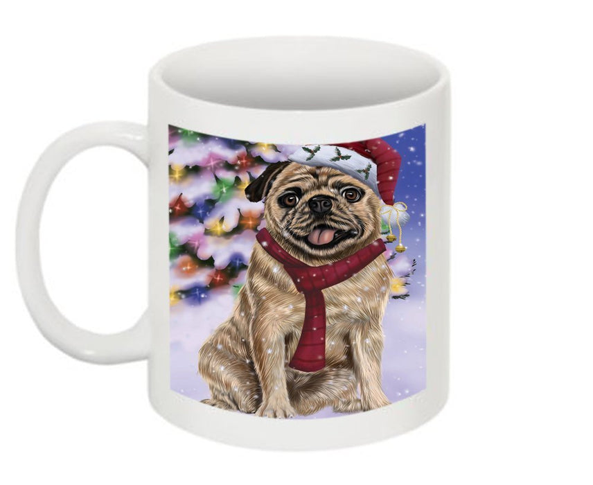 Winter Wonderland Pug Dog Christmas Mug CMG0605