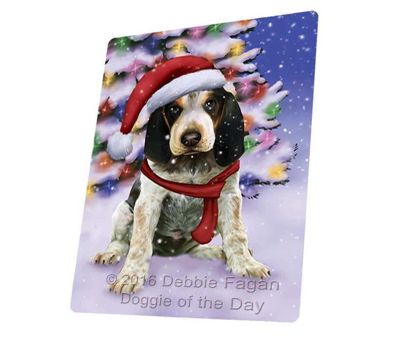 "Winterland Wonderland Bluetick Coonhound Puppy Dog In Christmas Holiday Scenic Background Magnet Mini (3.5"" x 2"")"