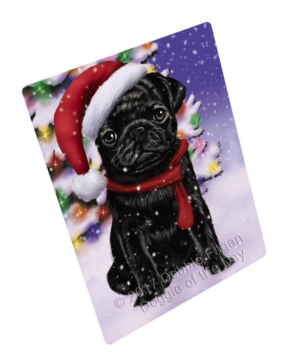 "Winterland Wonderland Pug Puppy Dog In Christmas Holiday Scenic Background Magnet Mini (3.5"" x 2"")"