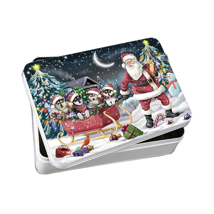 Santa Sled Dogs Alaskan Malamute Christmas Photo Storage Tin PTIN0485