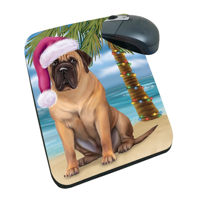 Summertime Happy Holidays Christmas Bull Mastiff Dog on Tropical Island Beach Mousepad