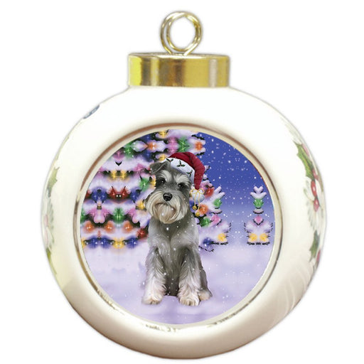 Winterland Wonderland Schnauzers Dog In Christmas Holiday Scenic Background Round Ball Ornament