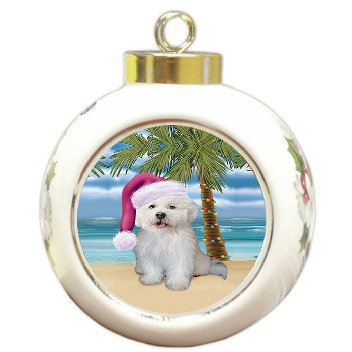 Summertime Happy Holidays Christmas Bichon Frise Dog on Tropical Island Beach Round Ball Ornament