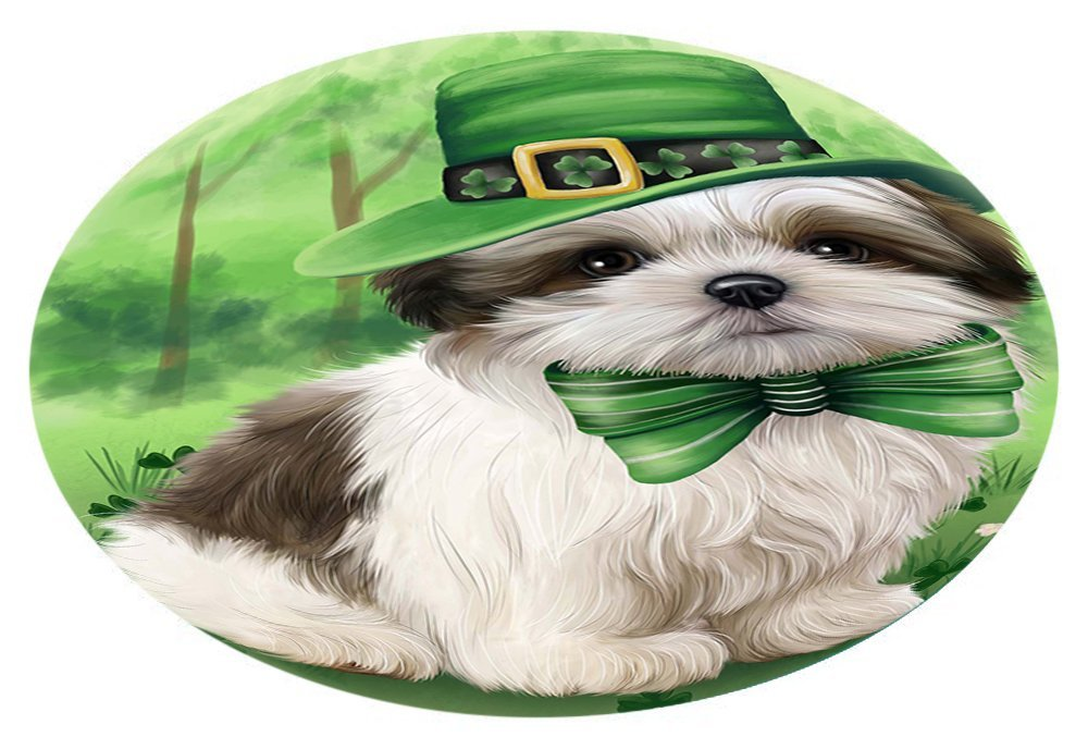 St. Patricks Day Irish Portrait Malti Tzu Dog Oval Envelope Seals OVE51348