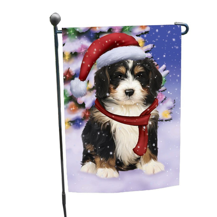 Winterland Wonderland Bernedoodle Puppy Dog In Christmas Holiday Scenic Background Garden Flag