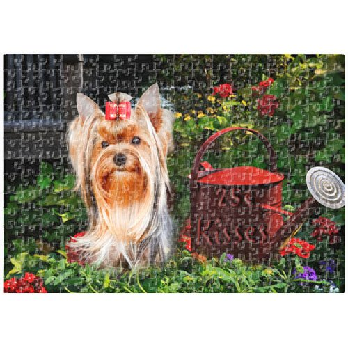 Yorkshire Terrier Dog 25 Cent Kisses 500 Pc. Puzzle with Photo Tin