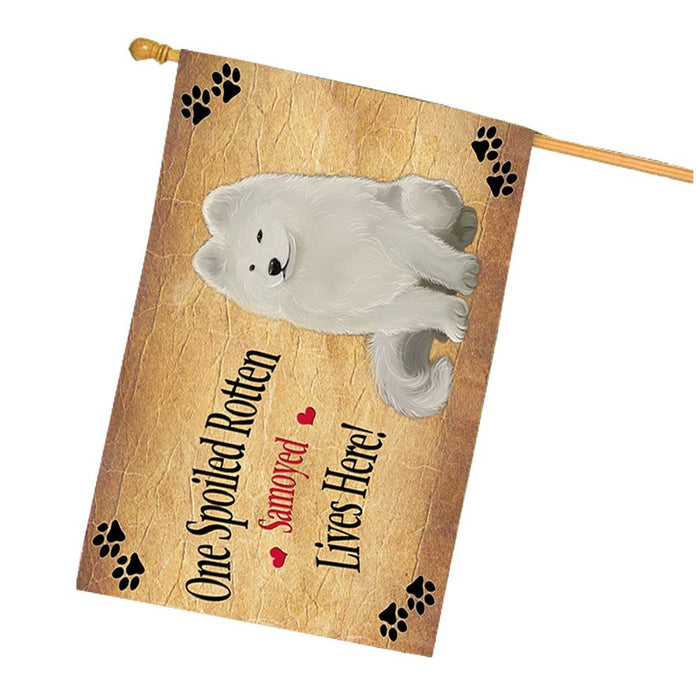 Samoyed Spoiled Rotten Dog House Flag