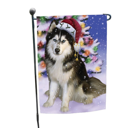 Winterland Wonderland Siberian Huskies Dog In Christmas Holiday Scenic Background Garden Flag