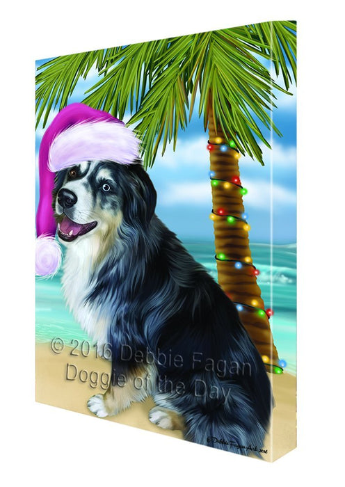 Summertime Happy Holidays Christmas Australian Shepherd Dog on Tropical Island Beach Canvas Wall Art
