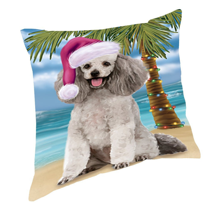 Summertime Christmas Happy Holidays Poodle Grey Dog on Beach Throw Pillow PIL1572