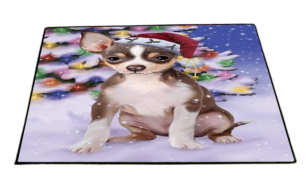 Winterland Wonderland Chihuahua Dog In Christmas Holiday Scenic Background Indoor/Outdoor Floormat