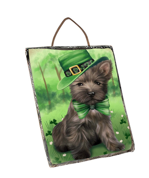 St. Patricks Day Irish Portrait Cairn Terrier Dog Wall Décor Hanging Photo Slate SLTH48761
