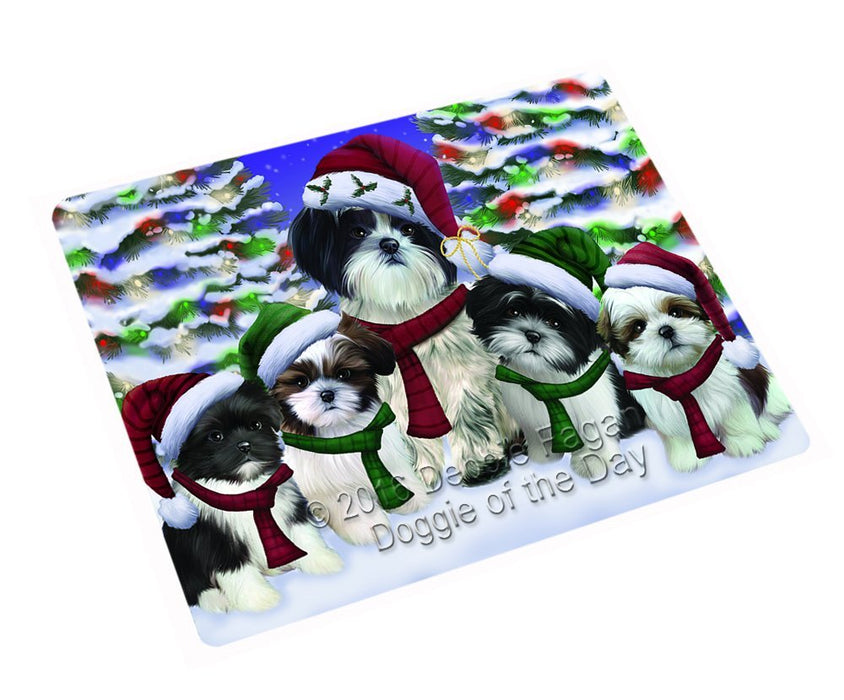 "Shih Tzu Dog Christmas Family Portrait In Holiday Scenic Background Magnet Mini (3.5"" x 2"")"