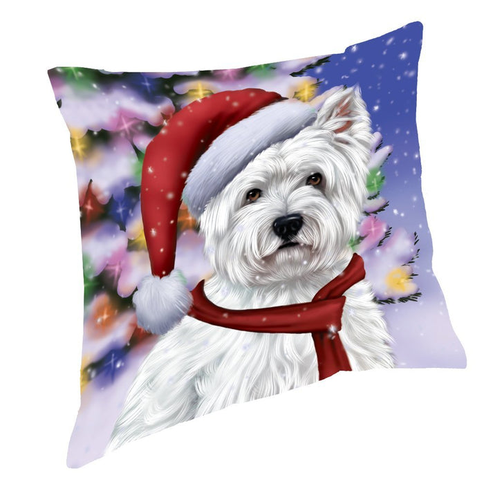 Winterland Wonderland West Highland Terriers Puppy Dog In Christmas Holiday Scenic Background Throw Pillow