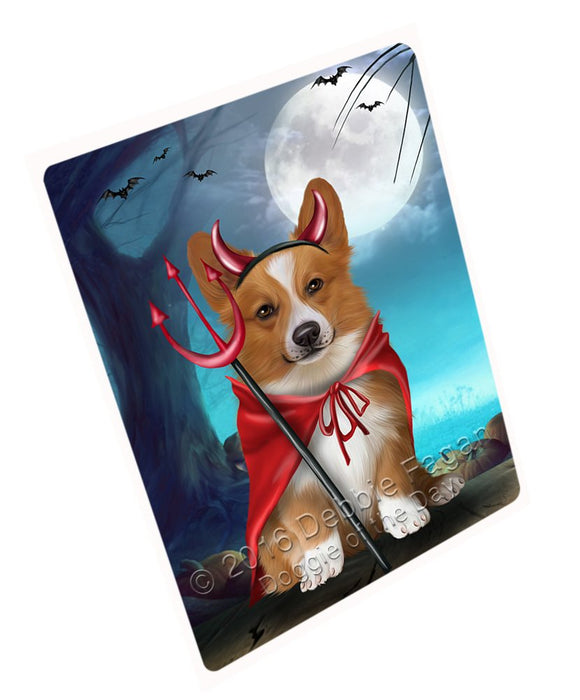 Happy Halloween Trick or Treat Pembroke Welsh Corgi Dog Devil Art Portrait Print Woven Throw Sherpa Plush Fleece Blanket