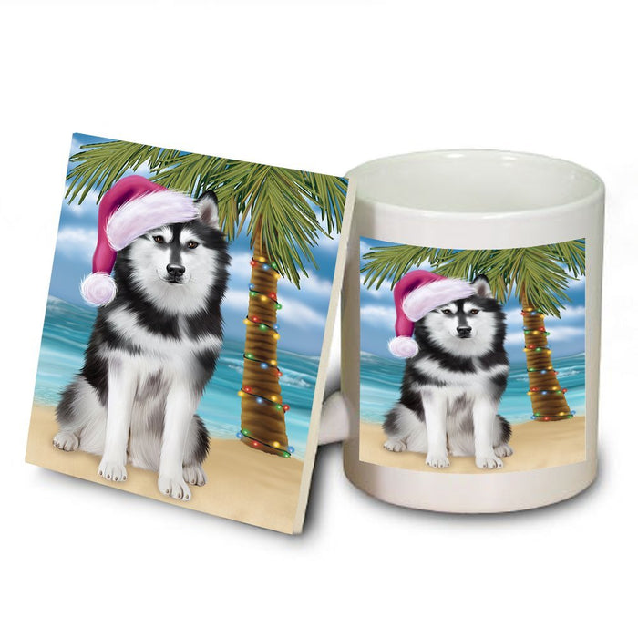 Summertime Husky Dog on Beach Christmas Mug and Coaster Set MUC0623