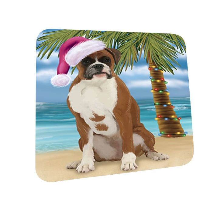 Summertime Boxer Dog on Beach Christmas Coasters CST453 (Set of 4)