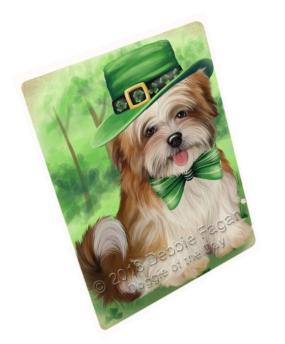 St. Patricks Day Irish Portrait Malti Tzu Dog Large Refrigerator / Dishwasher Magnet RMAG52764