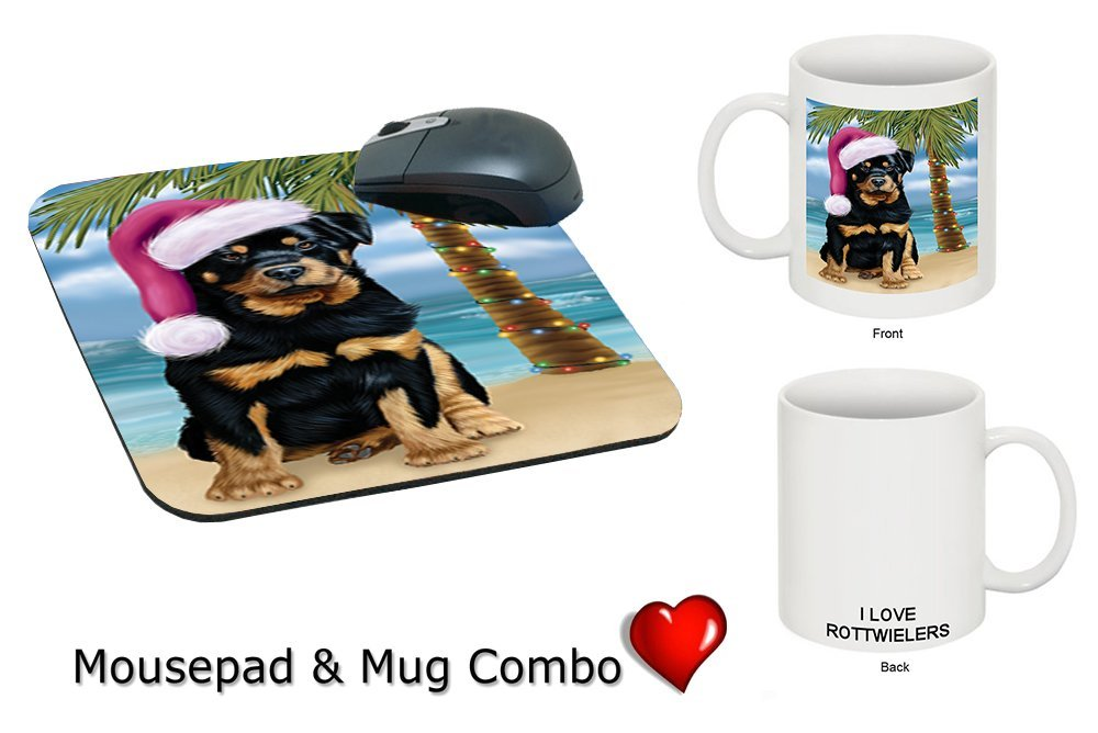 Summertime Rottweiler Puppy on Beach Christmas Mug & Mousepad Combo Gift Set MMCG1135
