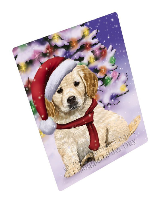 Winterland Wonderland Golden Retrievers Puppy Dog In Christmas Holiday Scenic Background Large Refrigerator / Dishwasher Magnet