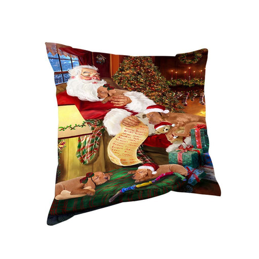 Vizsla Dog and Puppies Sleeping with Santa Throw Pillow