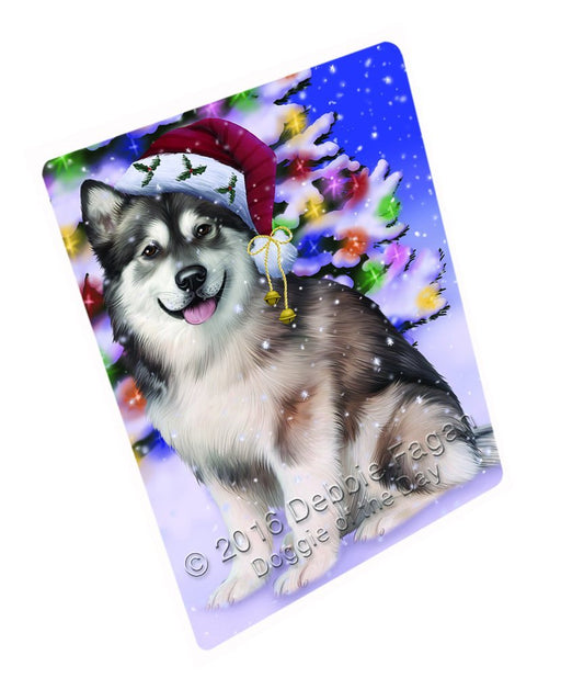 "Winterland Wonderland Alaskan Malamute Dog In Christmas Holiday Scenic Background Magnet Mini (3.5"" x 2"")"